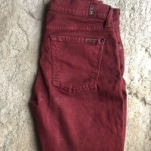 Seven For All Mankind cranberry skinny jeans